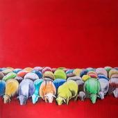serie El Rebaño.El sueño del pastor, 2013. Acrílico sobre lienzo / 155 x 155 cm