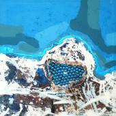 Costa Azul, 2012 / Tabletas de Spirulina, Acrílico sobre lienzo / 50 x 50 cm